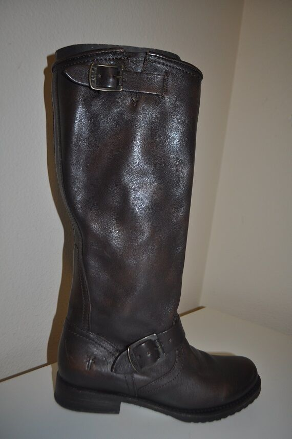 $368+ FRYE VERONICA Slouch Brown Leather Boot Sz 6.5 Flat Riding Boot