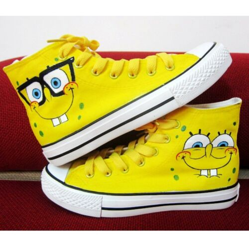 Spongebob Pattern Children Kids Hand-painted Canvas Shoes for Girls Boys Sneaker