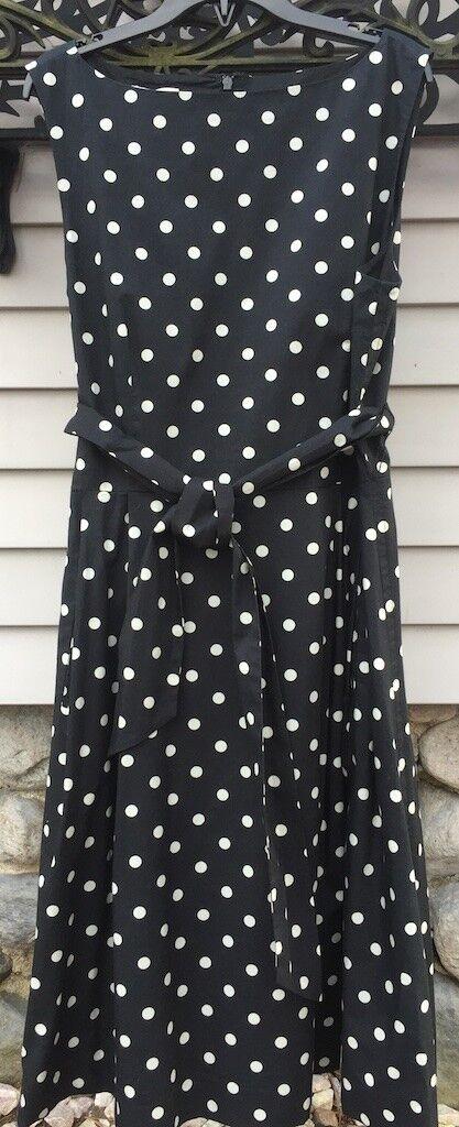 L.L. Bean Signature Poplin Polka Dot Dress Size 12 New
