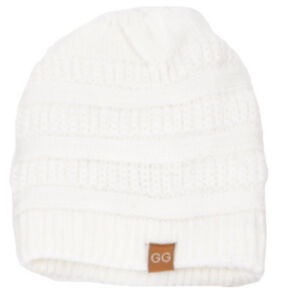 Winter GG Beanie Women Men Unisex Knit Slouchy Thick Cap Hat White ... b4cda631501