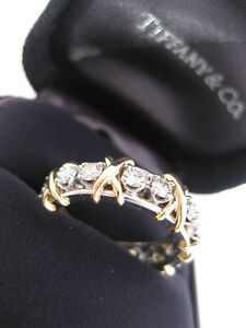 86fb4326b TIFFANY & CO. JEAN SCHLUMBERGER 16 STONE DIAMOND BAND 18K GOLD RING ...