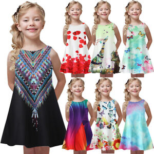 2019-Toddler-Girl-Summer-Princess-Dress-Kids-Baby-Print-Party-Sleeveless-Dress