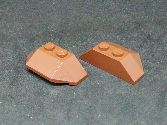 Lego Slope 45° Wedge 2x4 Triple [47759] - Brown x2