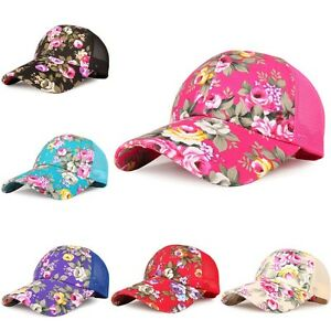 Womens Ladies Floral Baseball Cap Snap Back Sun Hat Outdoor Sports ... cb84a162c5e
