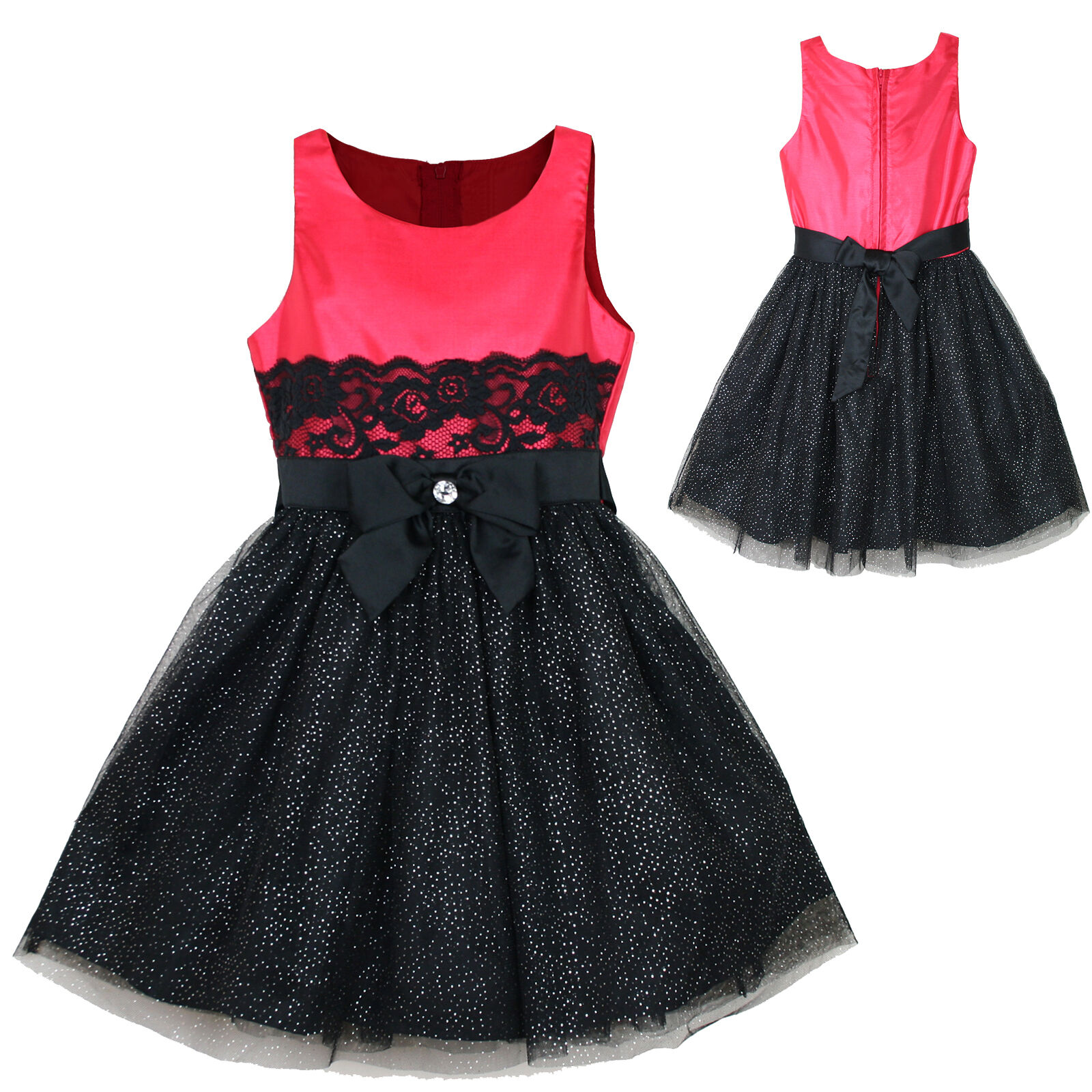 New Girl National Pageant Wedding Formal Party Red Rouge 4years-16years Dress