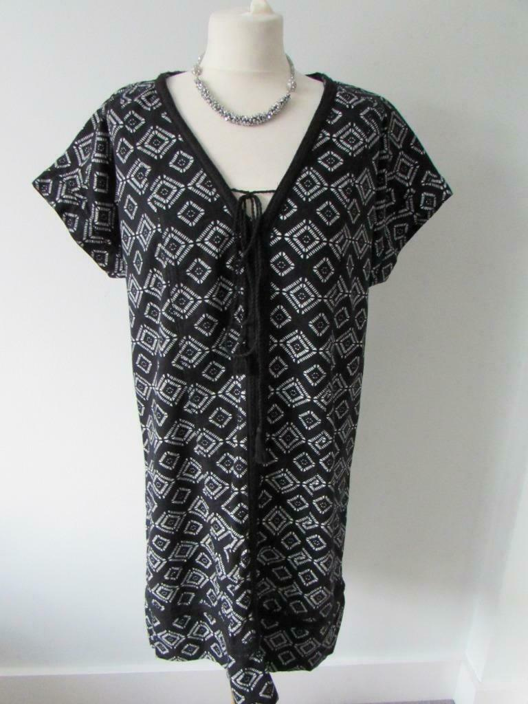 "MARKS & SPENCER Ladies Black White Linen Rich Tunic Dress Size 12 Length 36"" VGC"