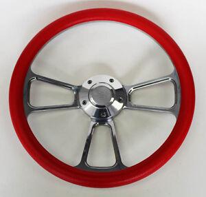 Chevelle-Nova-Camaro-Impala-14-034-Steering-Wheel-Red-Billet-Chevy-Bowtie-Cap
