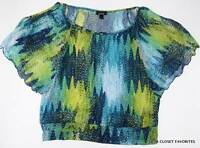 Alyx Womens Large 12/14 Summer Blouse Top Butterfly Sleeves Cutout Shoulders