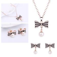 2pcs Pearl Kont Jewelry Set Women Crystal Necklace Earrings Set Party Fashion TR