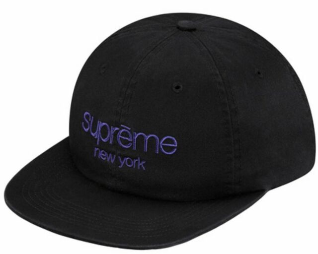 Supreme Ss16 Twill Classic Logo 6 Panel Cap Black Box Hat Motion S Stone Washed