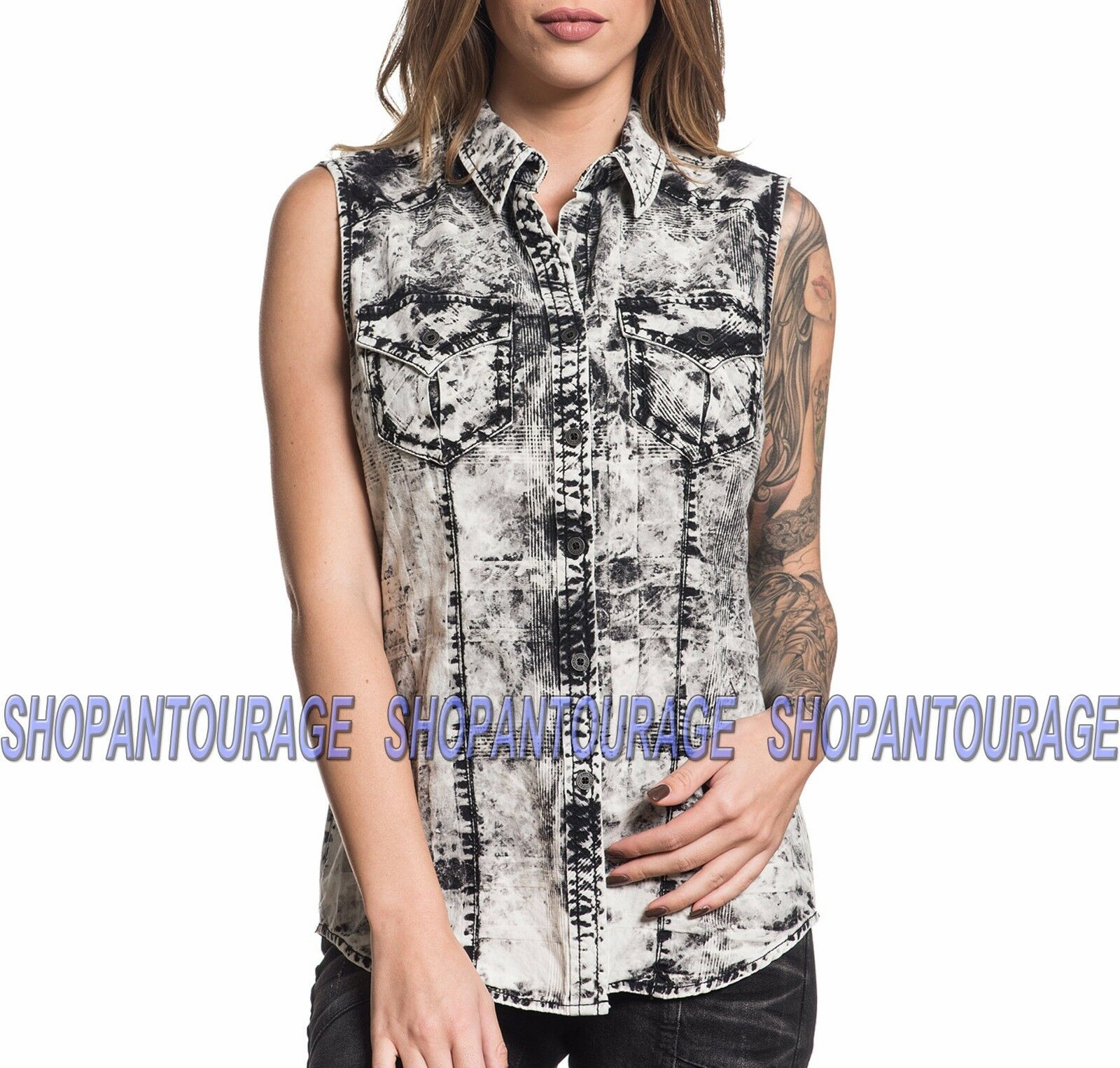 AFFLICTION Achromatic 111WV153 damen`s New grau Sleeveless Button-Down Shirt
