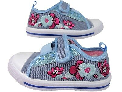 GIRLS BLUE DENIM CANVAS GLITTER TOUCH FASTEN TRAINERS PUMPS SHOES KIDS SIZE 4-12