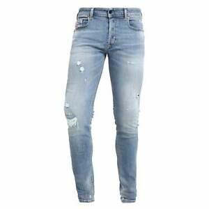 a9c2b2910d5 Diesel Sleenker Stretch Light Blue Denim Ripped & Repair Jeans 086AT ...