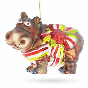 Hippo Christmas Ornament.Details About Hippo Gift Blown Glass Christmas Ornament
