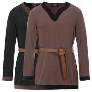 Renaissance-Costume-Men-Tops-Shirt-Medieval-Fancy-Dress-Viking-Tunic-With-Belt