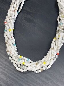 Vintage-Boheniman-Blue-Grey-Glass-Seed-Bead-Multi-Strand-Long-Necklace-Boho-28