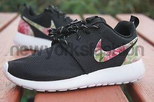otzet New Nike Roshe Run Custom Black Rose Garden Batch Floral Women | eBay