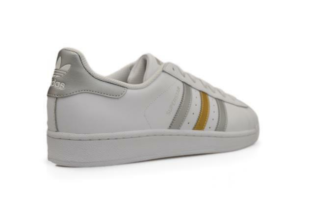 Uomo Adidas Superstar - BB4 882 Trainers - WEISS Gold Silver Trainers 882 de7dd2