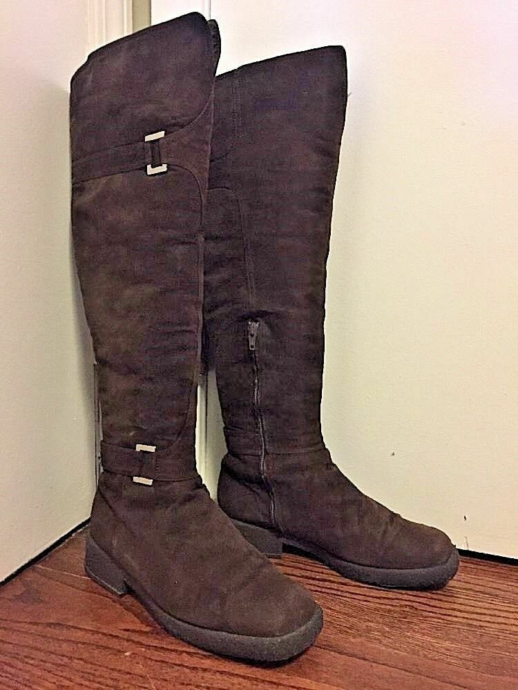 BALDININI Brown Suede Boots in Shearling Lining Size 7 Made in Boots Italy 4e668b