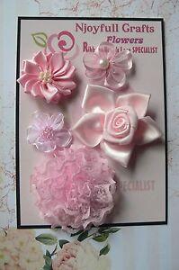 HANDMADE-5-Mixed-Flowers-PINK-Lace-Satin-Organza-Fabric-25-55mm-NjoyfullCrafts