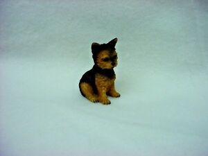 YORKIE puppy TiNY DOG Figurine HAND PAINTED MINIATURE Statue YORKSHIRE TERRIER