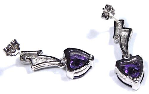Heart Amethyst /& Blue Fire Opal Inlay 925 Sterling Silver Dangle Post Earrings