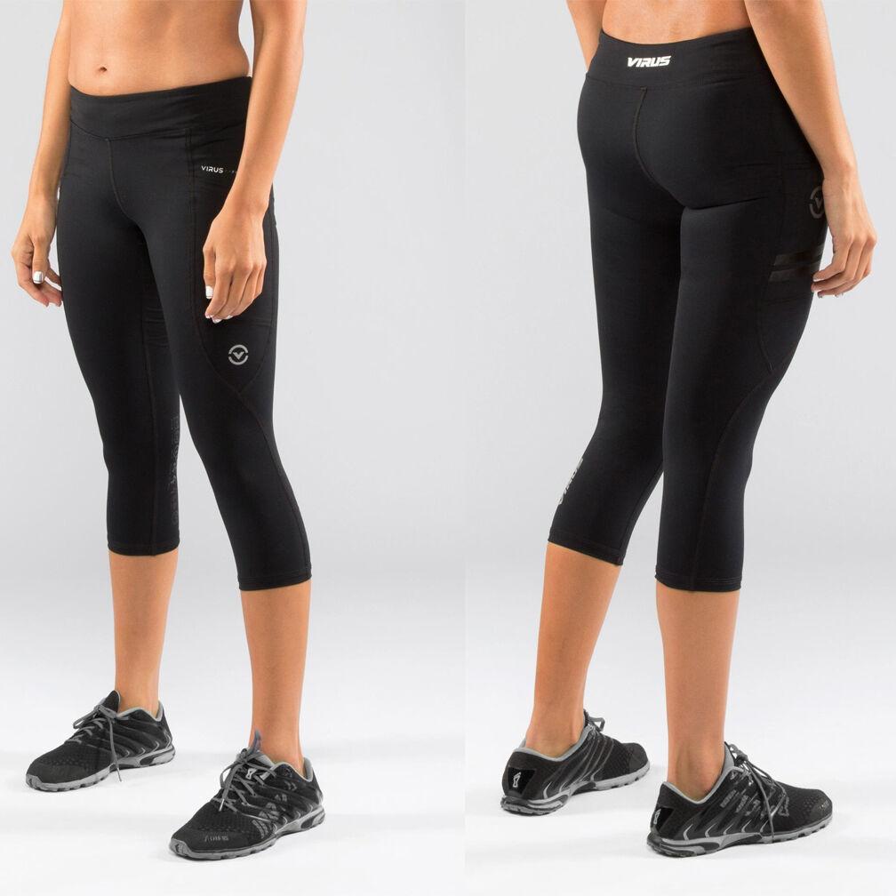 Potencia del virus de Mujer Pantalón de cultivos Tech (ECo24) Negro, Crossfit Pantalones, Yoga, correr