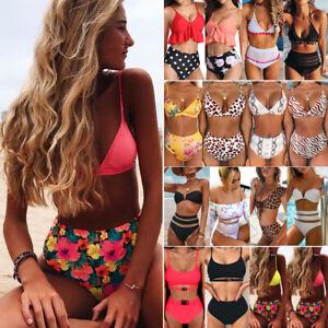 Women-High-Waist-Push-up-Padded-Bra-Bandage-Bikini-Set-Swimsuit-Swimwear-Bathing
