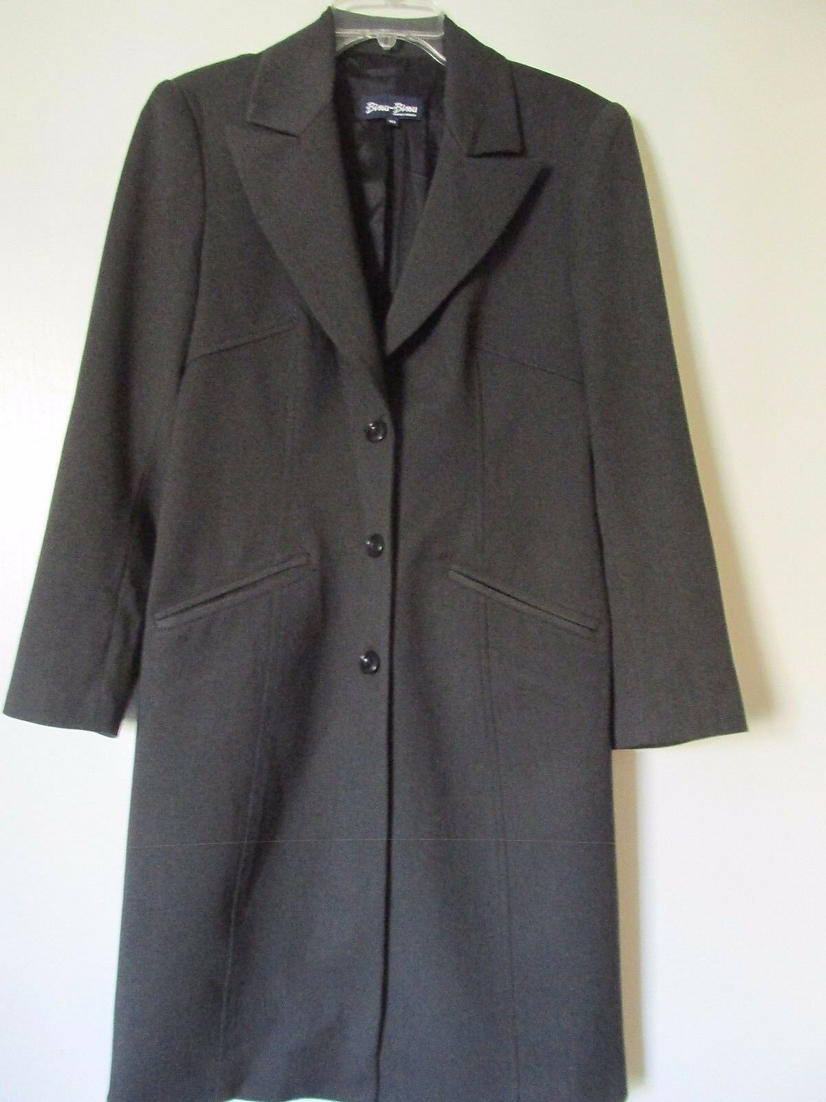Bisou Bisou Michele Bohbot Charcoal Gray Button Front Duster Suit Jacket Size 10