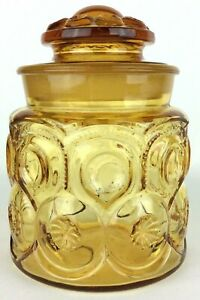 Vtg-L-E-Smith-Apothecary-Canister-w-Lid-Amber-Glass-Moon-amp-Stars-Kitchen-Decor
