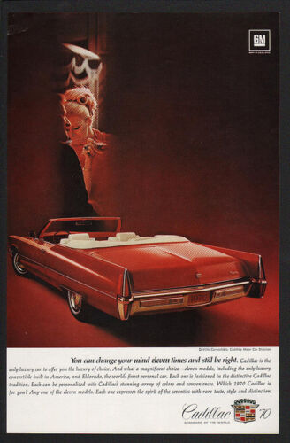1970 CADILLAC CONVERTIBLE DeVILLE Red Luxury Car VINTAGE AD