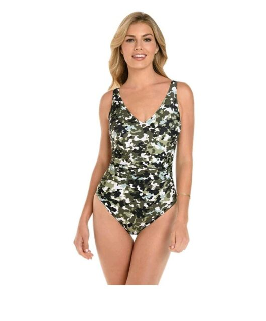 935a02df21 Magicsuit GI Jane Steffi Strappy Back One Piece Swimsuit Size 8 olive green