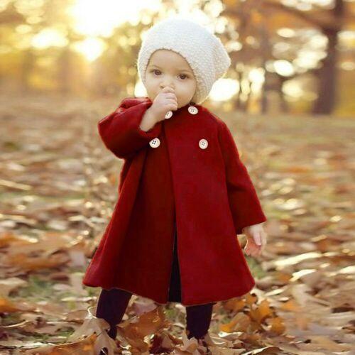 Kids Baby Winter Girls Warm Outwear Cloak Button Long Sleeve Solid Coat Jacket