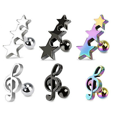 STAR OR MUSIC NOTE CARTILAGE BAR TRAGUS HELIX PIERCING STUD 316L SURGICAL STEEL