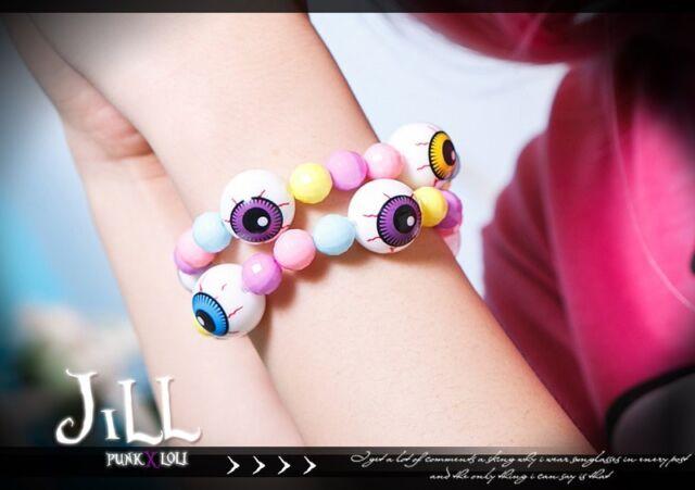 STREET PUNK visual KERA colourful eyeball bead bubble gum elastic bracelet