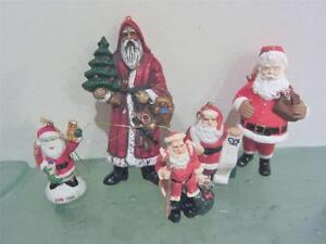 Santa-Claus-Father-Christmas-5pc-Ormanet-Lot-Resin-CVS-1993-1995-Hallmark
