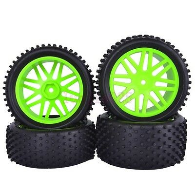 RC 1/10 OFF Road Buggy Car Front&Rear granular Tyre Tire GREEN wheel 66017-66037