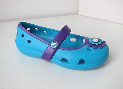 Crocs Ballerina keeley petal kids türkis lila C 7 Gr. 23 24 surf neon purple