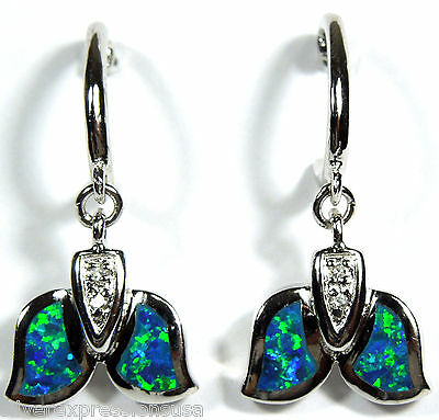 Blue Fire Opal Inlay 925 Sterling Silver Dangling Whale Tail Huggie Earrings