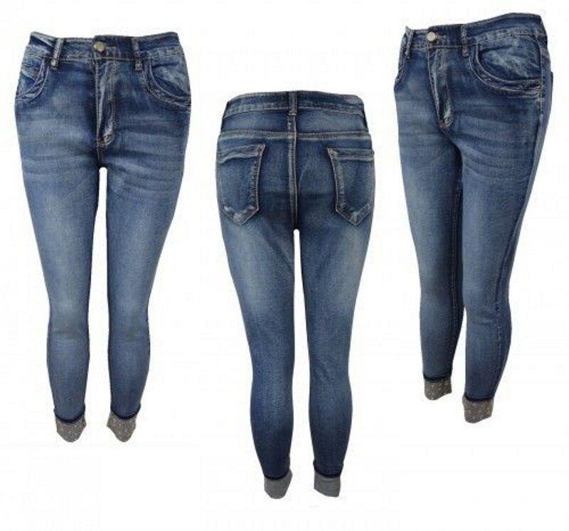 NUOVO Sexy Donne Blu Diamante ricomparso con Lustrini Jeans Pantaloni Slim Taglia