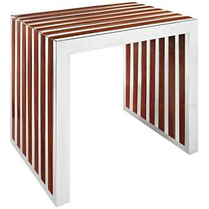 STAINLESS-STEEL-END-TABLE-WALNUT-WOOD-INLAY-SEAT-BENCH-TUBULAR-SQUARE-SLAT