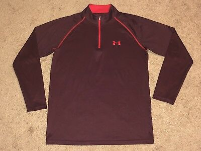 Clothing, Shoes & Accessories Men's Under Armour Heat Gear Loose Long Sleeve 1/4 Zip Maroon Shirt Size S And To Have A Long Life. Activewear Tops