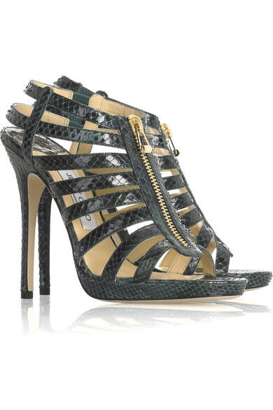 5592f5a09d1 Jimmy Choo Glenys Snakeskin Gladiator Strappy Sandals HEELS Green 36.5 295  for sale online