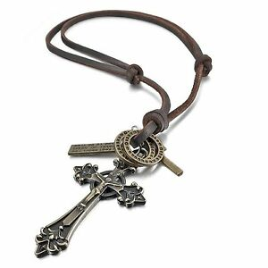 MENDINO-Men-039-s-Alloy-Leather-Pendant-Cord-Necklace-Jesus-Celtic-Cross-Adjustable