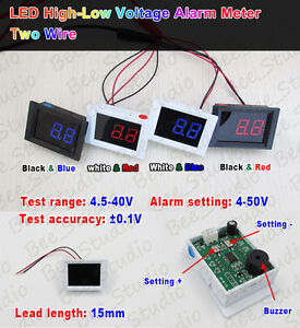 DC-4-5V-40V-LED-Volt-Voltmeter-High-Low-Voltage-Alarm-Detector-5v-6v-12v-24v-Car