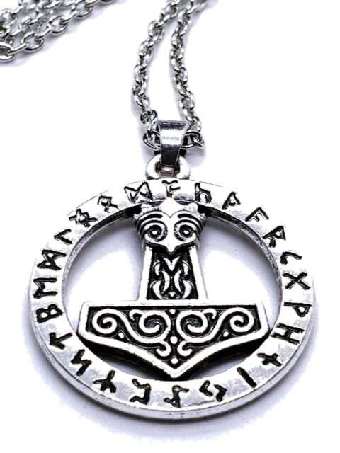 Silver Viking Norse Thors Hammer Mjolnir Rune Amulet  Pendant Necklace v2 UK
