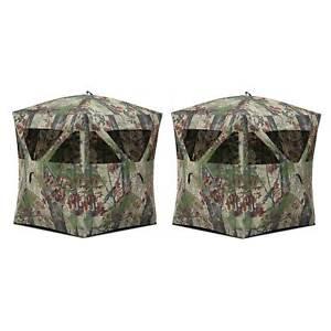 Barronett Blinds Radar Portable Pop-Up Hunting Ground Blind, Backwoods (2 Pack)