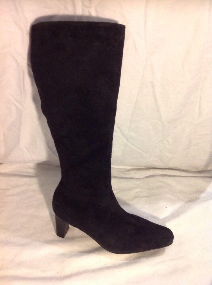 AJ Valenci Black Mid Calf Suede Boots Size 6.5M (Uk Size 4.5)