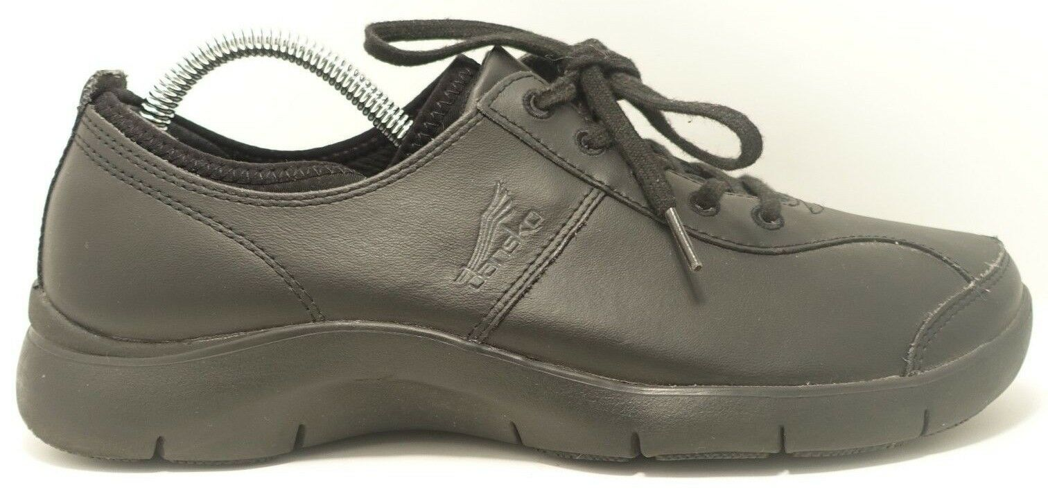 Dansko Elise 4401020200 Black Leather Slip Resistant 5 Eye Oxford Shoes US 10