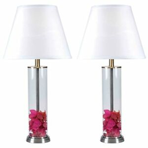 Set Of 2 Clear Glass Fillable Table Lamps White Shade Brushed